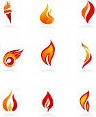 image of fire  - Collection of fire icons - JPG
