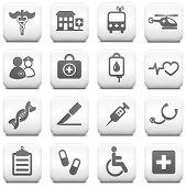 Постер, плакат: Медицинские икона на квадратный черный и белый кнопку коллекция оригинальных Иллюстрация