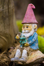 image of  midget elves  - Garden gnome sitting on a mushroom and smoking his pipe - JPG