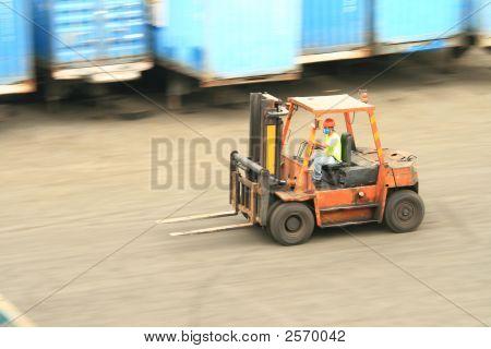Forklift In Motion