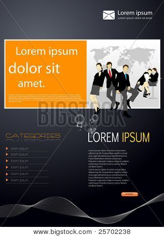 Business template card with business people