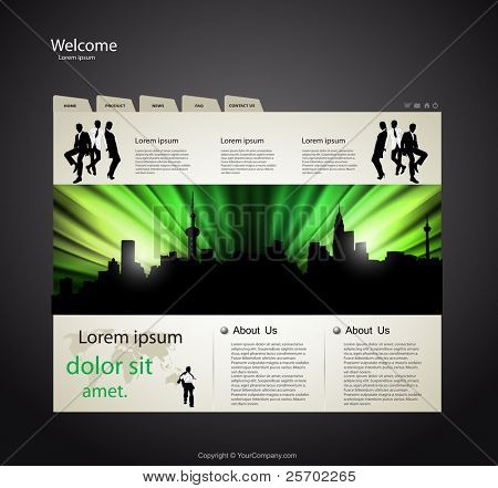 Web site design template with business team people