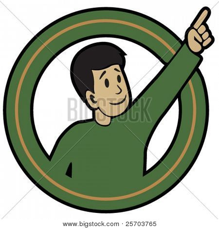 Pointing Fellow sticker. Vector illustration of man with pointing hand.