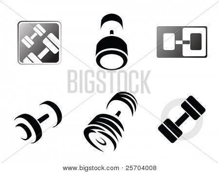 Sign weights for fitness or gym logo