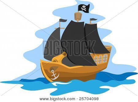 Navio pirata com canhões e velas pretas.