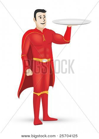 Red superhero holding an empty tray