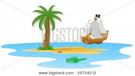 Palm on a desert island, a bottle with a letter and a pirate ship