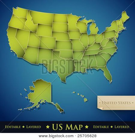 United States map with all 50 states separated - Vector