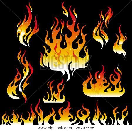 Fire graphic elements on black background
