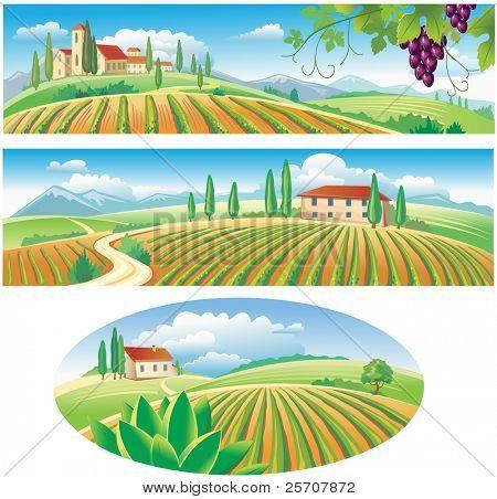 Banner mit der Landwirtschaft-Landschaft
