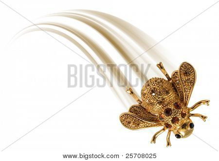 gold fly on white background, moving