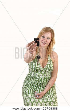 Girl Showing Car Keys.