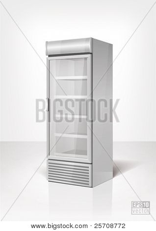 Drink display fridge with glass door. Eps10 vector