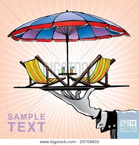View of two chairs and umbrella on the holding tray at vacation. Eps10 vector