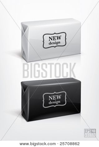 White and black wrap box package for new design. Eps10 vector
