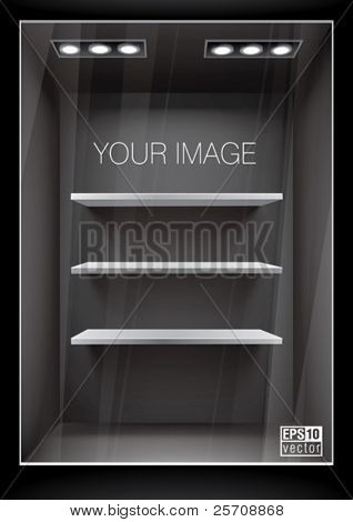 Vertical black storefront with shelves. Eps10 vector