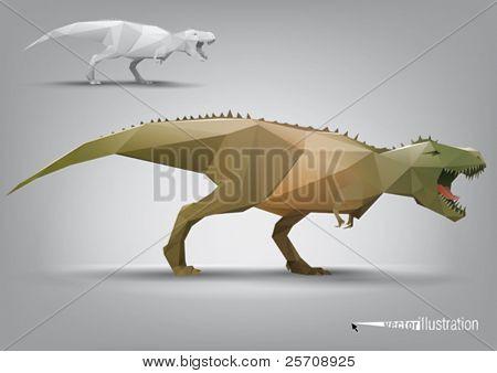 Vector dinosaur stylized triangle polygonal model