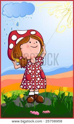 Girl hiding under the mushroom