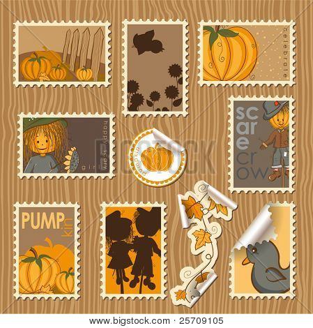 Collection of postal stamps and labels with pumpkin theme - every object on separate layer