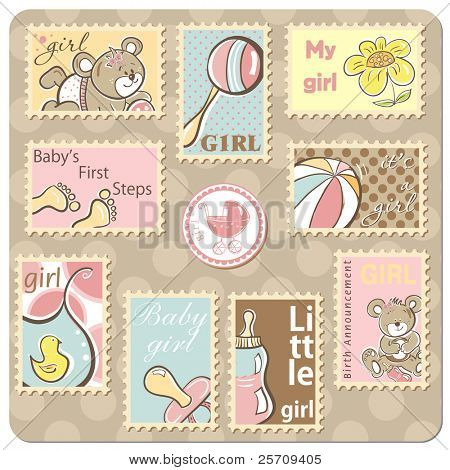 Baby girl announcement card - collection of postal stamps - vector version also available