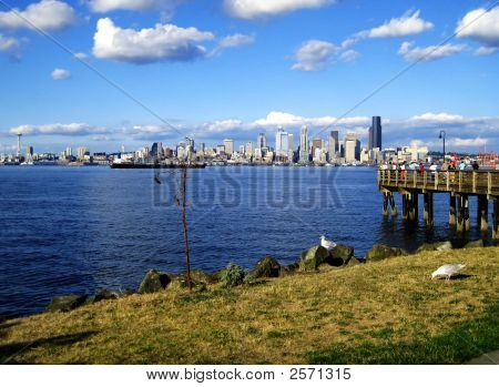 Scenic View Of Seattle Skyline From Alki