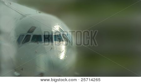 Commercial Airplane with Blurred Background