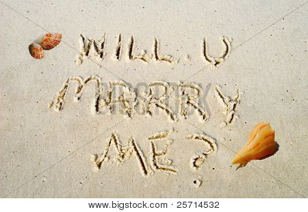 Will You Marry Me Proposal Written in Beach Sand