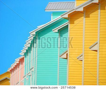 Colorful Coastal Condominiums Under Blue Sky