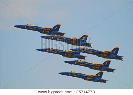 Formation Flying of Navy Blue Angel F-18's