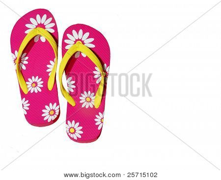 Pink Daisy Flip Flops with Copy Space