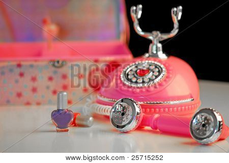 Girl's Room with Phone, Nail Polish, and Jewelry Box