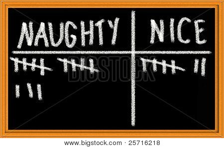 Tally of Naughty versus Nice on Christmas Themed Blackboard
