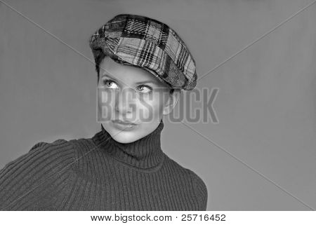 Beautiful Woman in Turtleneck and Cap