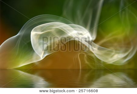 Smoke over Reflective Surface