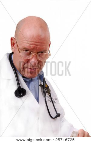 Physician Looking Serious With Furrowed Brow