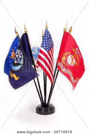 American Flag with military service flags surrounding