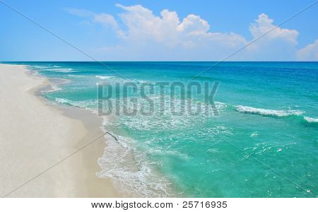 Aerial view of beautiful ocean and deserted beach