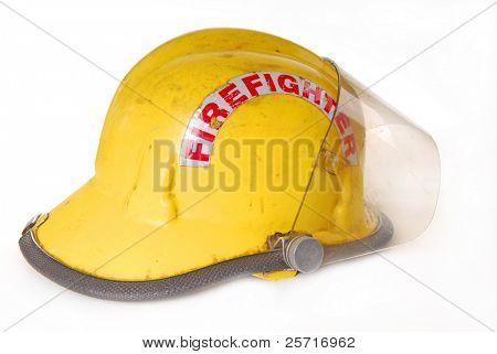 Fireman's helmet showing wear