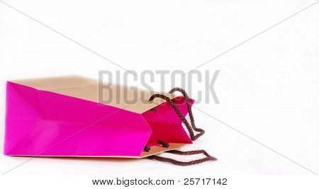 Pretty pink and brown shopping bag