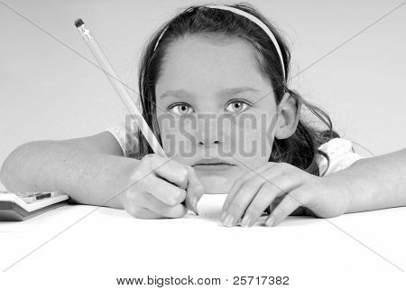 Girl Working on School Assignment