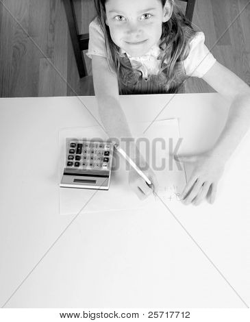 Young Girl Working on Math Problem