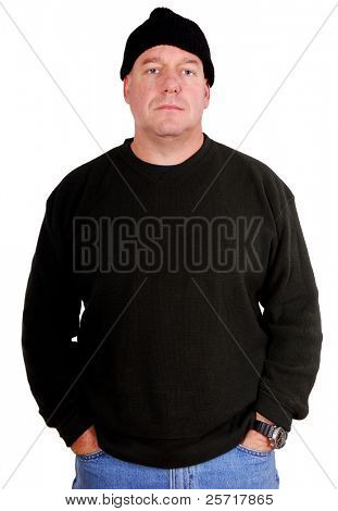 Tough Looking Man Dressed in Black with Beanie