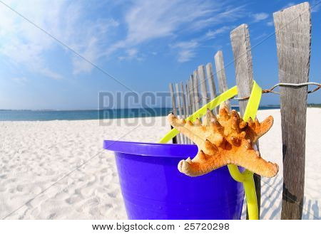 Starfish and sand pail next to dune fence on pretty beach