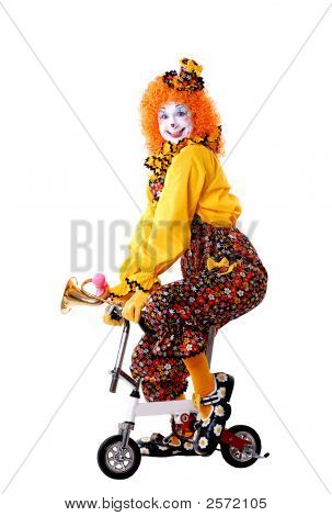 Circus Clown On Small Bike