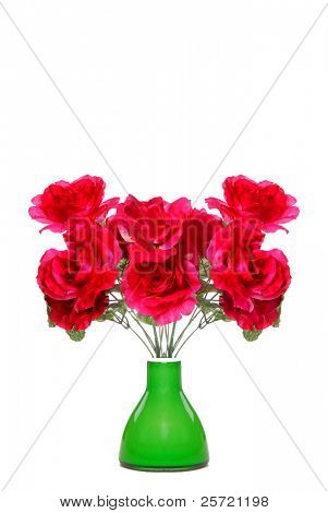Array of red silk flowers in green vase