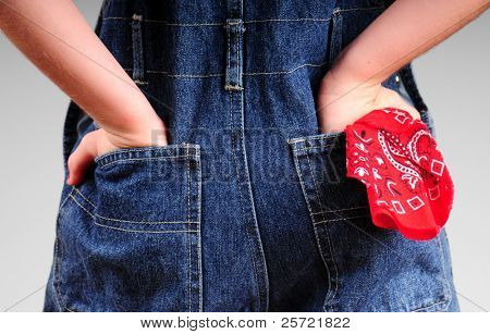 backside of jean overalls with hankerchief