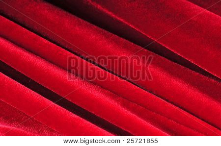 Layers of red velvet material