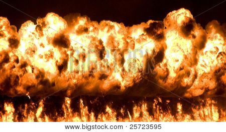 Massive wall of fire from pyrotechnic explosion