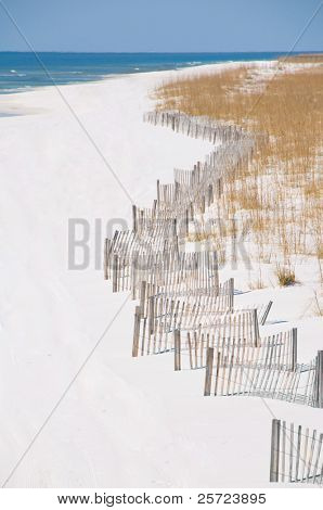 Pensacola beach with sand dune fence