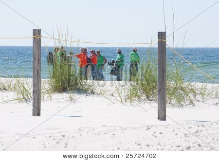 PERDIDO KEY, FL - JUNE 9: BP oil spill workers clean the beaches on June 9, 2010 as oil threatens the pristine Gulf Shores National seashore near Pensacola, FL.